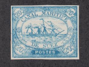 Egypt, Suez Canal Co. SG 3 MNH. 1868 20c blue Steamship Local, Pos 53, VF+, Cert