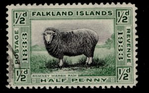 FALKLAND ISLANDS GV SG127, ½d black & green, FINE USED. Cat £13.
