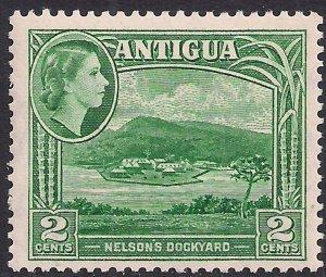 Antigua 1953 – 62 QE2 2ct Green Umm SG 122 ( L1427 )
