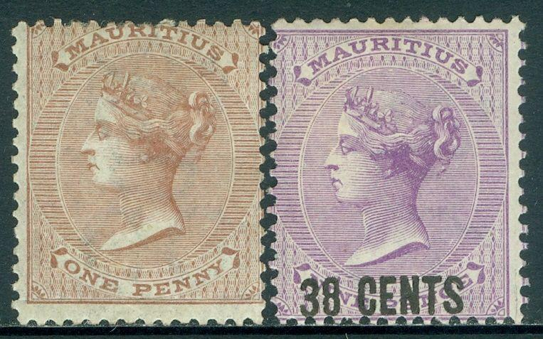 MAURITIUS : 1860-78. Stanley Gibbons #57, 89 Both VF Mint with full OG. Cat £140