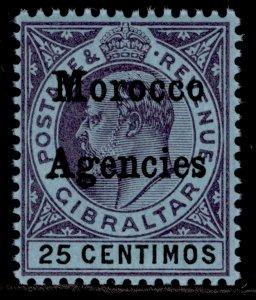 MOROCCO AGENCIES EDVII SG20, 25c purple & black/blue, LH MINT.