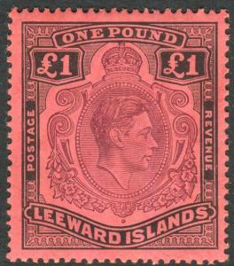 LEEWARD ISLANDS-1942 £1 Purple & Black/Carmine lightly mounted mint  Sg 114a