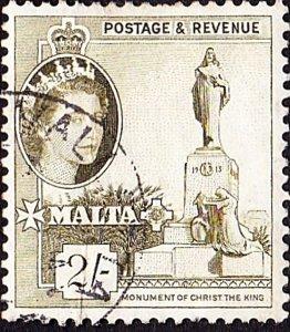 MALTA 1956 QEII 2/- Olive-Green SG278 FU
