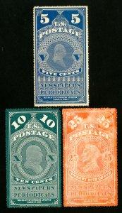 US Stamps # PR5-7 VF Attractive unused Scott Value $775.00