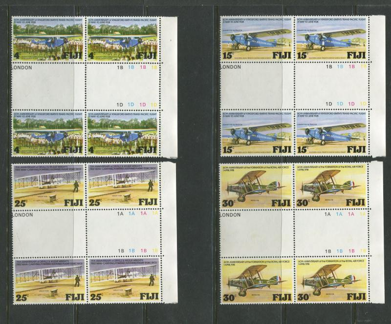 Fiji - Scott 385-388 - General Issue 1978- MNH - Gutter Pairs -Set of 4 Stamps