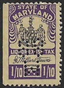 US STATE REVENUES MARYLAND 1951 1/10pt LIQUOR TAX MNH PERFIN TR.L52