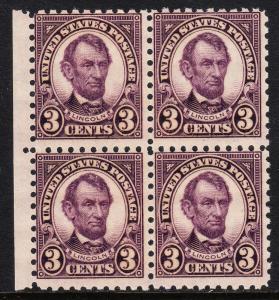 USA — SCOTT 584 — 3¢ LINCOLN — BLOCK/4 — MNH — SCV $250.00
