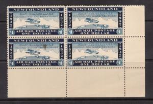Newfoundland Mint $1 Wayzata Airmail XF/NH Lower Right Corner Block