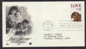 US Love Puppy 1986 PCS Typed FDC BIN