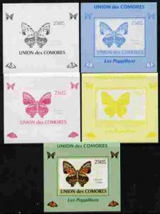 Comoro Islands 2009 Butterflies #2 individual deluxe shee...