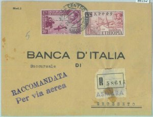 86152  - ETHIOPIA - POSTAL HISTORY - REGISTERED COVER to ITALY  1955