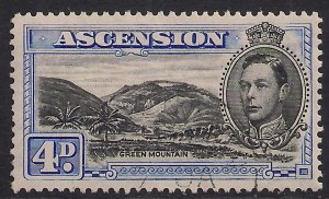 Ascension Island 1944 KGV1 4d Blue & Black used SG 42d ( C637 )