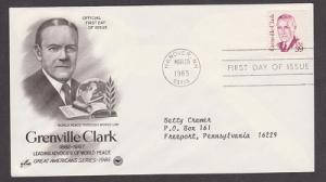 1867 Grenville Clark ArtCraft FDC with neatly typewritten address