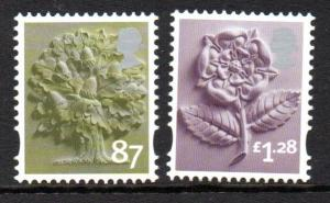 Great Britain England Sc 26-7 2012 87p tree & £1.28 rose stamp set mint NH