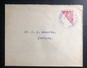 1928 Pedro Sula Honduras Bisect Stamp cover To Mr WH Bennaton
