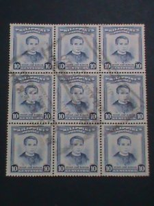 PHILIPPINES STAMP-FATHER JOSE BURGOS WITH COMPLETE CANCEL USED BLOCK OF 9-VF