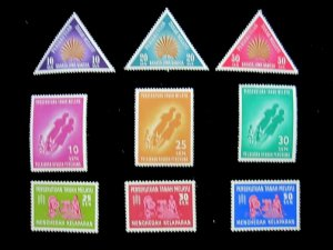 MALAYA FEDERATION - SCOTT# 105-113 -MH - CAT VAL $17.05