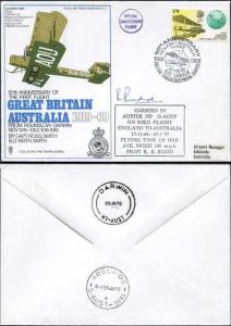SC11c 50th Ann of the 1st Flight Great Britain - Australia Signed by R.E. Rudd