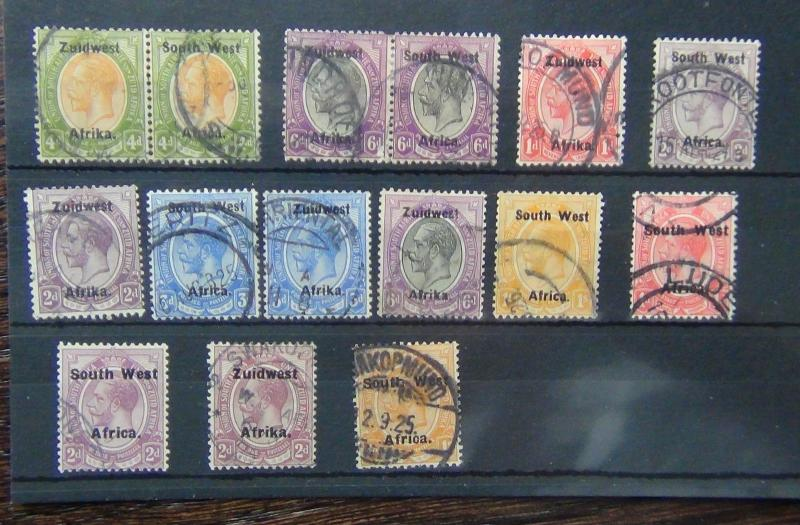 South West Africa 1923 4d & 6d in pairs. Singles values to 1s Used