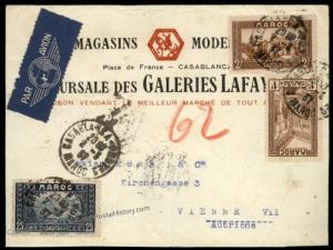 French Morocco 1937 Airmail Incoming Austria Rohrpost Pneumatic Cover 66940
