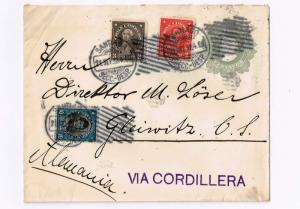 R) 1912 CHILE, SANTIAGO VIA CORDILLERA TO GERMANY, SEALS WITH  MUTE POST MARK CO