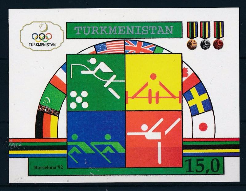 [44587] Turkmenistan 1992 Olympic games Barcelona Gymnastics Rowing MNH Sheet