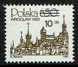 Poland Scott 2526 (SW 2818) MNH (1982) Skyline of Wroclaw - Overprint