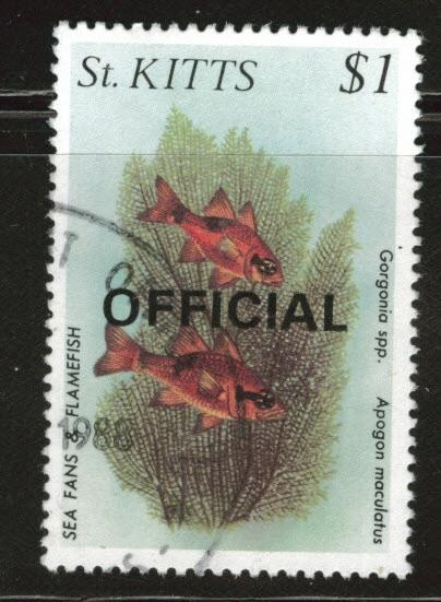 St Kitts Scott o37 used 1984 Official stamps CV$2