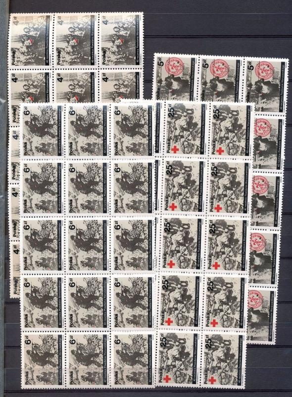POLAND 1984 Warsaw Red Cross Blocks MNH 60 stamps (Go 741