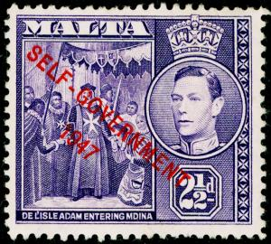 MALTA SG239, 2½d dull violet, NH MINT.