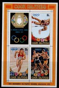 COOK ISLANDS QEII SG MS405, 1972 Olympic Games mini sheet, NH MINT.