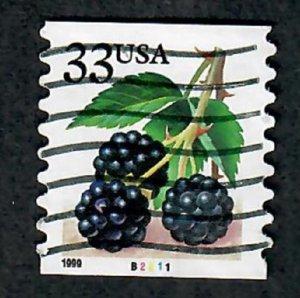 US #3304 Berries Used PNC Single plate #B2211