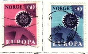 Norway Sc 504-5 1967 Europa stamps used