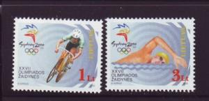 Lithuania Sc 673-4 2000 Sydney Olympics stamp set mint NH