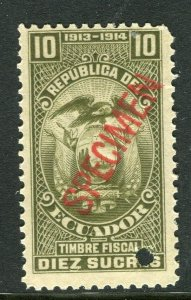 ECUADOR; Early 1900s fine Fiscal issue Mint MNH unmounted SPECIMEN 10s.