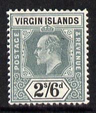 British Virgin Islands 1904 KE7 MCA 2s6d green & blac...