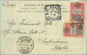 86099 - EL SALVADOR - POSTAL HISTORY - POSTCARD to ITALY 1908  BACTERIA HOSPITAL