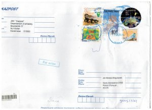Kazakhstan 2020 Registered Cover to Poland Stamps Space Satellite Animals Train