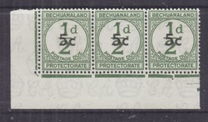 BECHUANALAND, POSTAGE DUE, 1961 5c. on 1/2d. Green, corner strip of 3, mnh.