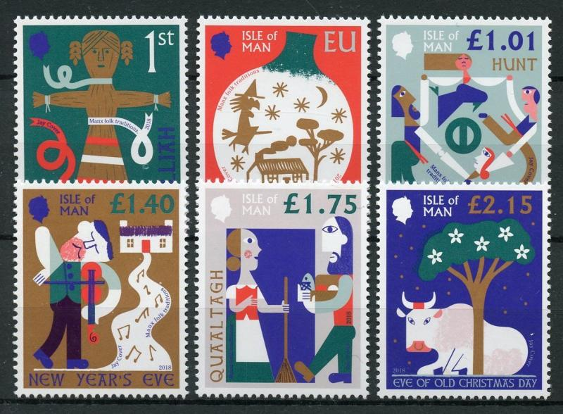 Isle of Man IOM 2018 MNH Manx Folk Traditions Christmas 6v Set Cultures Stamps