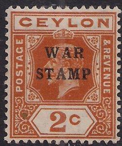 Ceylon 1918 - 19 KGV 2ct Brown Orange Ovpt War stamp MM SG 330  ( A766 )