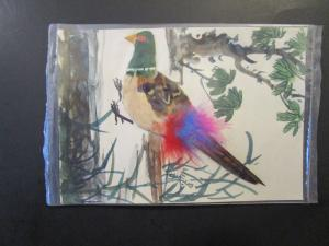 Taiwan 1960 Hand Painted / Feathered Postal Card / Used / Sealed - Z4256