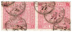 (I.B) QV Telegraphs : 5/- Rose (plate 1) Lothbury