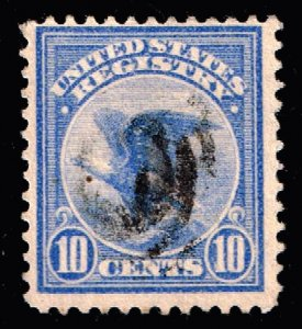 US STAMP BOB #F1 10c 1911 Registration Stamp Used