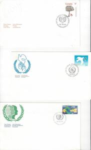 Canada 842, 1045, 1110 FDC UN Related, Year of Child, Youth Year, Peace Year