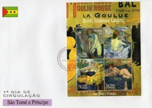 Sao Tome & Principe 2005 TOULOUSE LAUTREC Paintings s/s Perforated Official FDC