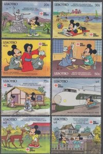 LESOTHO # 807-14 DISNEY STAMPS ISSUED for JAPANESE INT'L STAMP EXHIBITION 1991