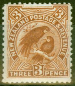 New Zealand 1908 3d Brown SG378 Fine Mtd Mint