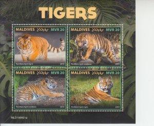2019 Maldives Tigers MS4 (Scott NA) MNH