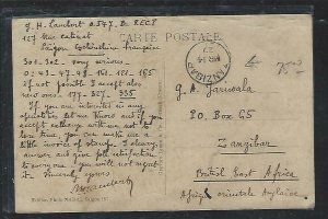 FRENCH INDOCHINA  (PP3008B) 1927 PPC FROM SAIGON TO ZANZIBAR, INCREDIBLE! PMK